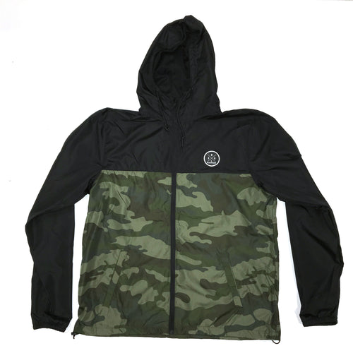 MEN'S BLACK AND CAMO WINDBREAKER