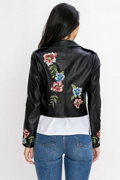 Embroidery Moto Jacket