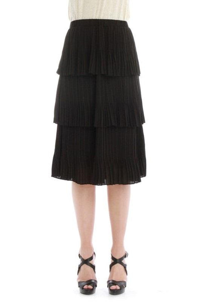 Elastic Waistband Pleated Tier Skirt