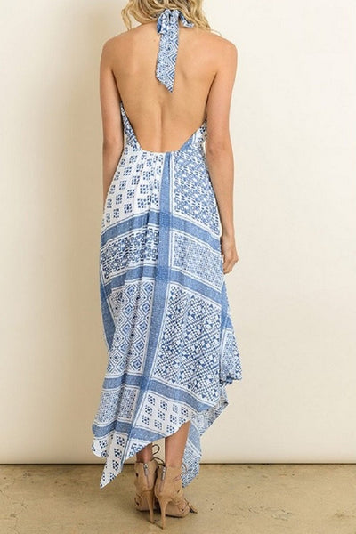 Pritned Halter Dress