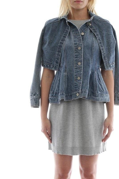 Two Layer Cape Denim Jacket