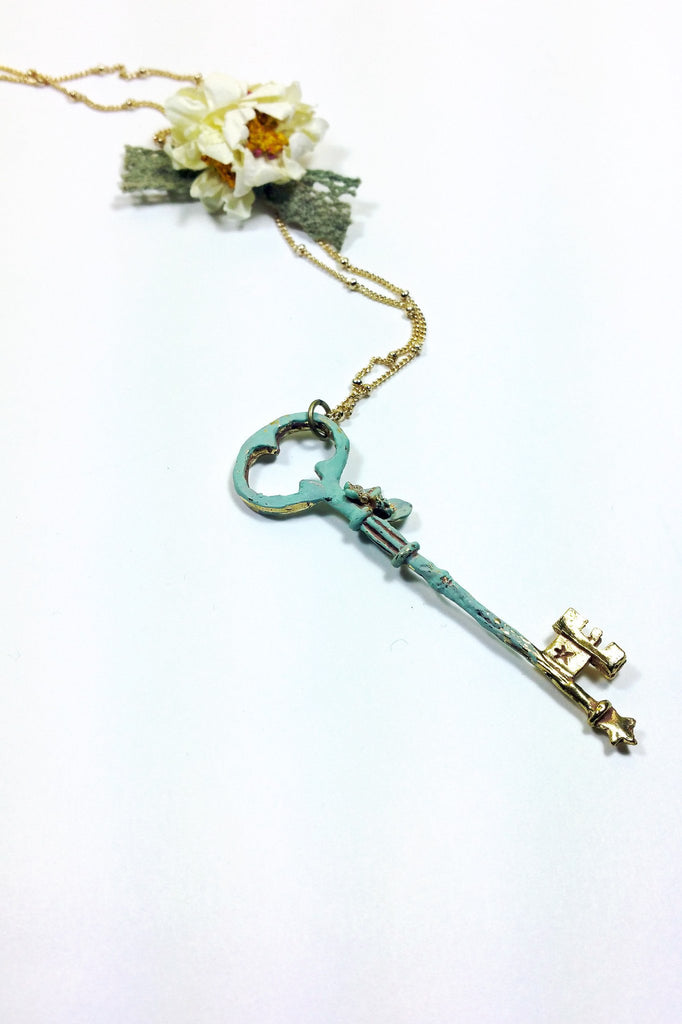Flower and Key Necklace