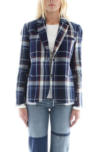 Elbow Patch Plaid Jacket