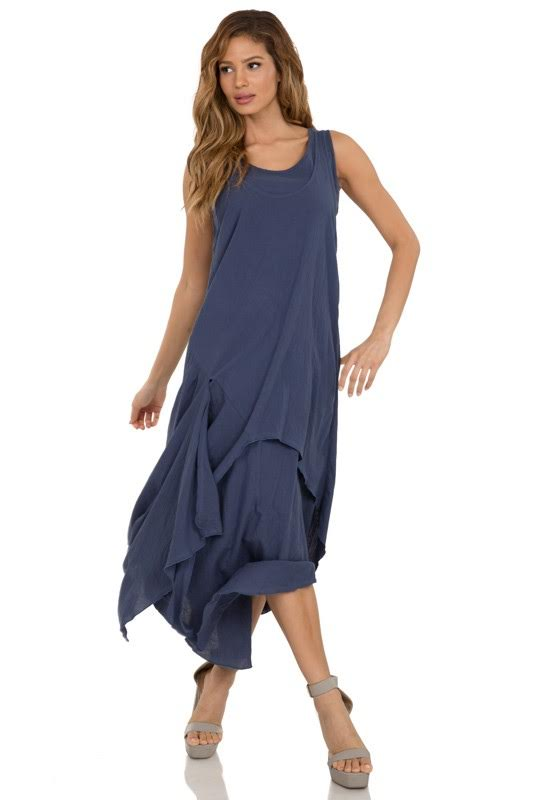 Asymmetrical Hem Sleeveless Dress