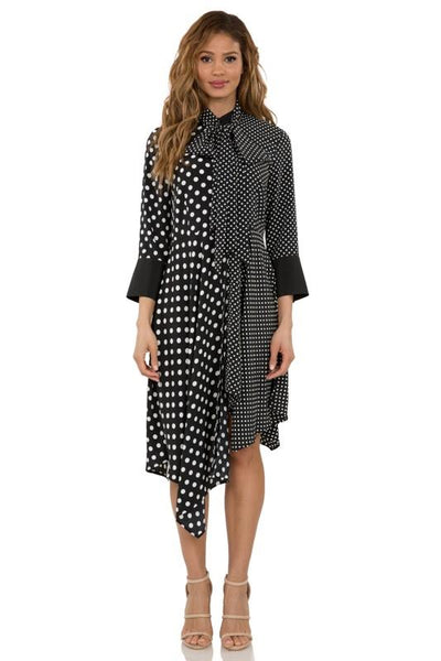 Bow Tie Polka Dot Dress, Black