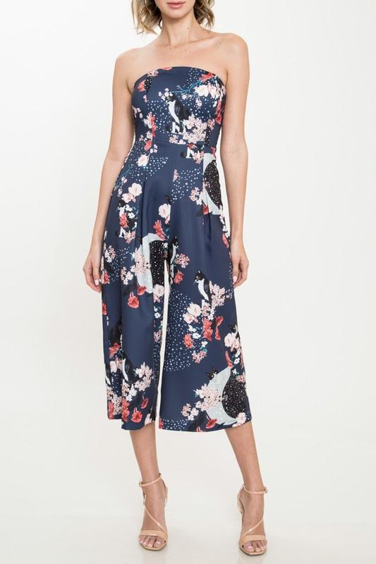 Sleeveless Jumpsuit in Oriental Print