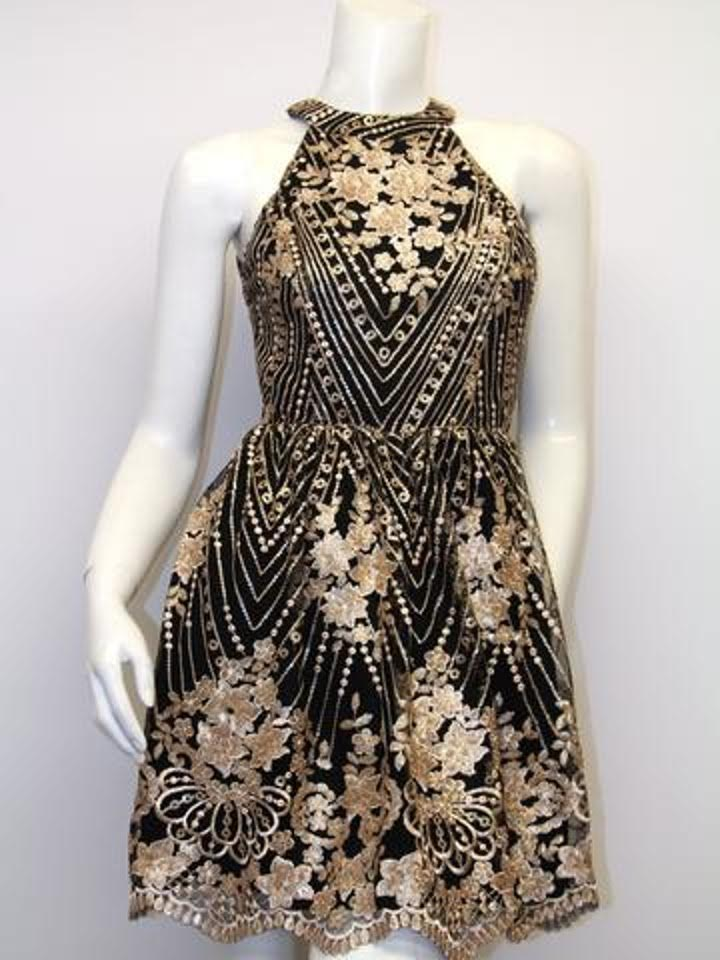 Aline Black And Gold Open Back Dress