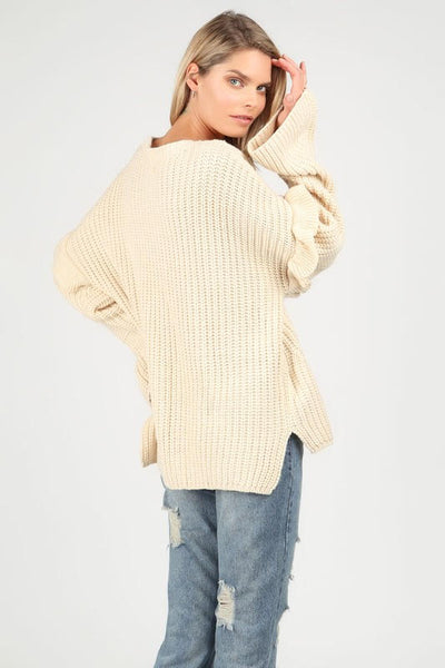Eyelet Design Sweater
