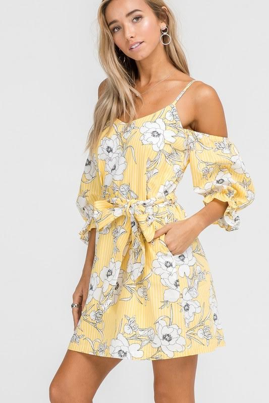 Cold Shoulder Puff Sleeve Midi Dress