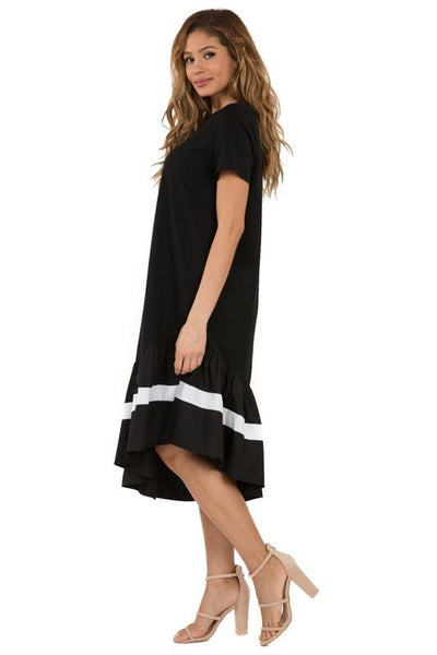 Color Block Ruffle Bottom Dress Black