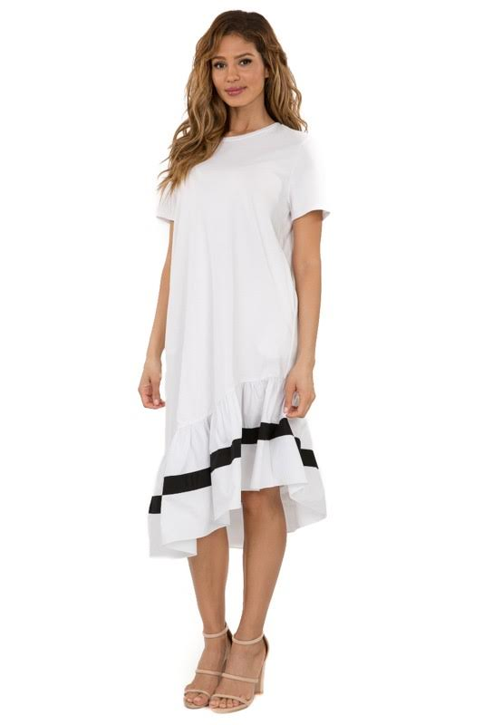 Color Block Ruffle Bottom Dress White