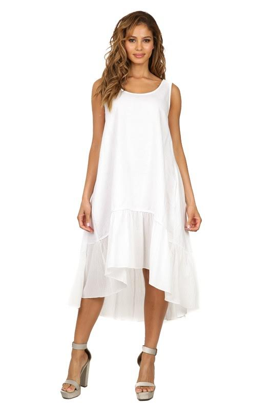 Ruffle Bottom Sleeveless Dress White