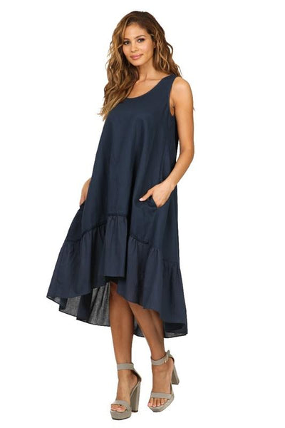Ruffle Bottom Sleeveless Dress Navy