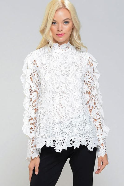 Calista Mock Neck Guipure Lace Long Sleeve Top
