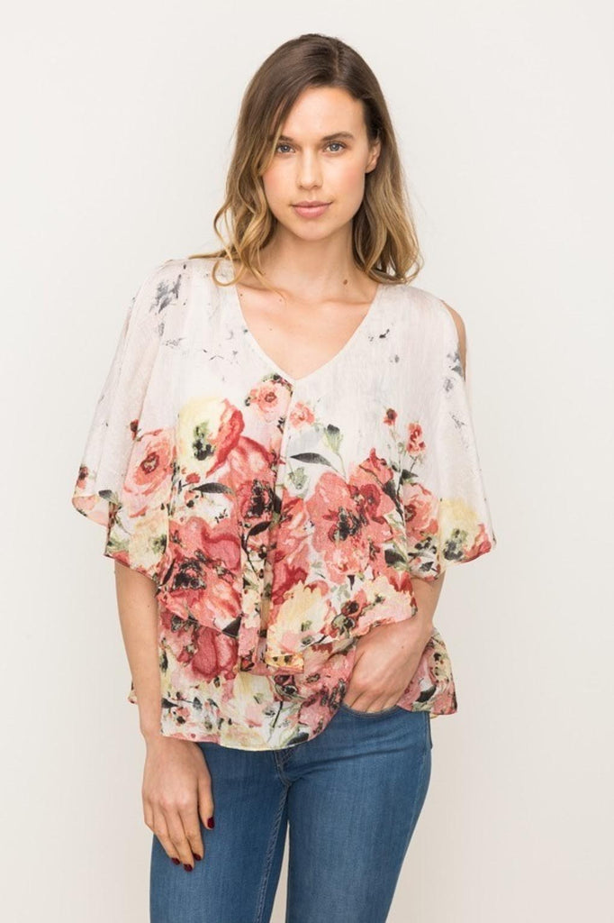 Double Layer Floral Print Blouse