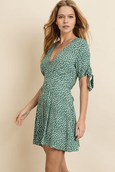 Ditsy Floral Tie Sleeve Dress