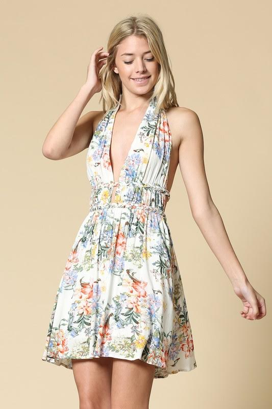 Double Braid Floral Halter Dress
