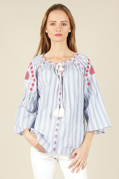Embroidered Bell Sleeve Striped Blouse Top
