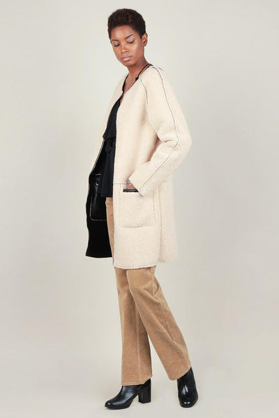 Faux Leather-Fur Reversible Coat
