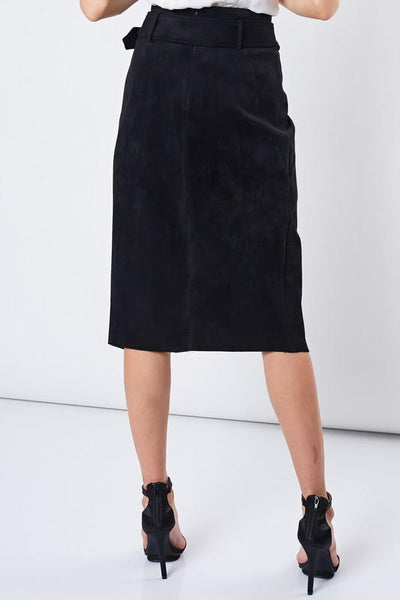 Faux Suede Belted Split MIDI Skirt