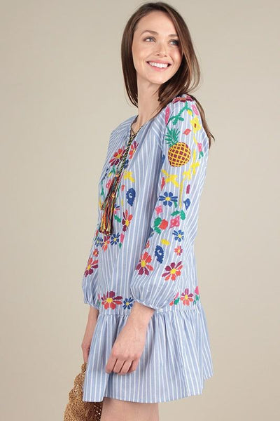 Floral Embroidered Stripe Dress