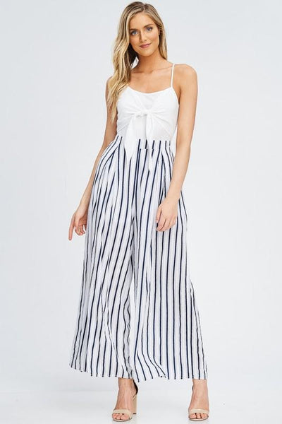 Front Tie Striped Jumpsuit