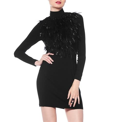 Front Fur Attached Jersey Dress