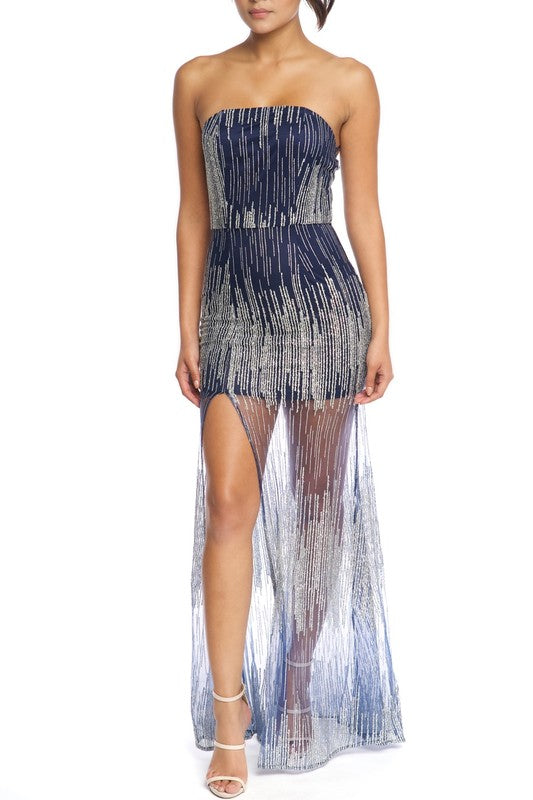 Glitter Lines Tube Gown
