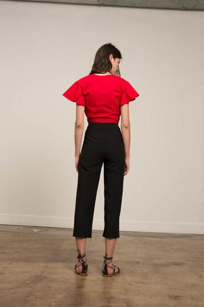 Cropped Cotton Stretch Twist Top