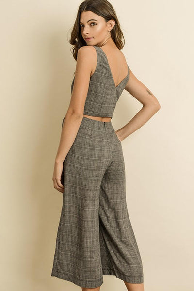 Plaid Tie Front Jumpsuit