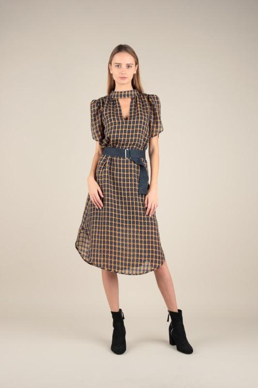 Keyhole Checker Dress