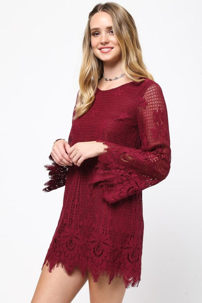 Lace Design Solid Sleeve Dress