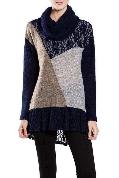 Lace Inset Color Block Sweater With Cowell Neck