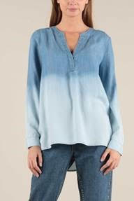 Long Sleeve Ombre Washed Top