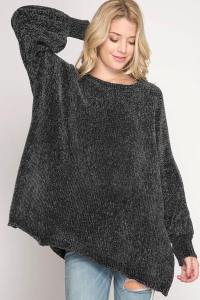Long Sleeve Chenille Oversized Sweater