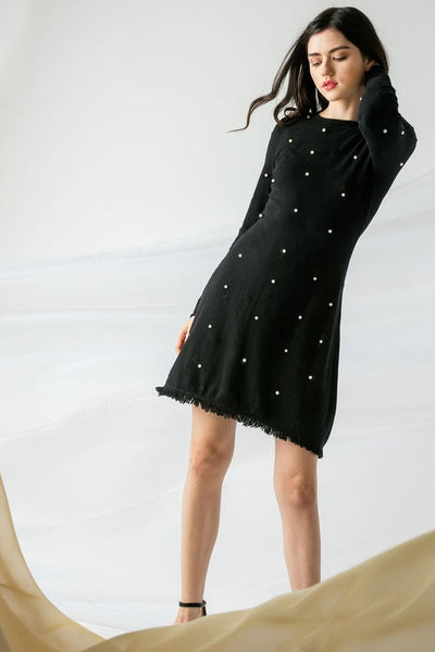 Long Sleeve Pearl Knit Dress