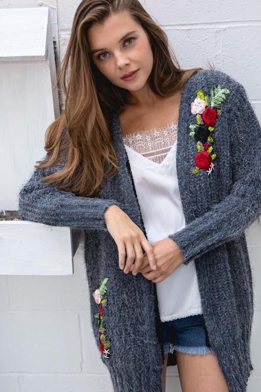 Floral Embroidery Cardigan