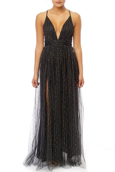 Metallic Lines Maxi Gown