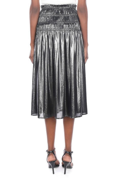 Metallic Silver Midi Skirt