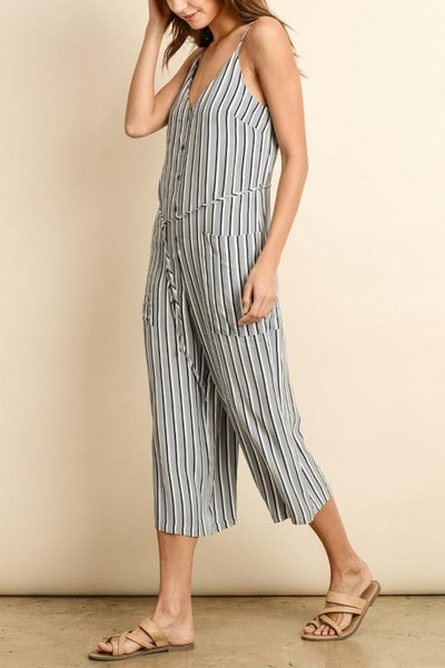 Nautical Striped Button-Down Jumpsuit