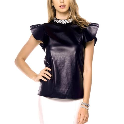 Necklace Detail Ruffle Sleeve Leather Top