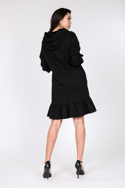 Pearl Trim Hoodie Dress