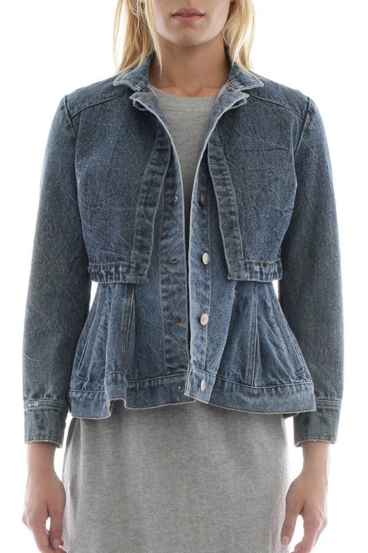 Plume Denim Cape Jacket