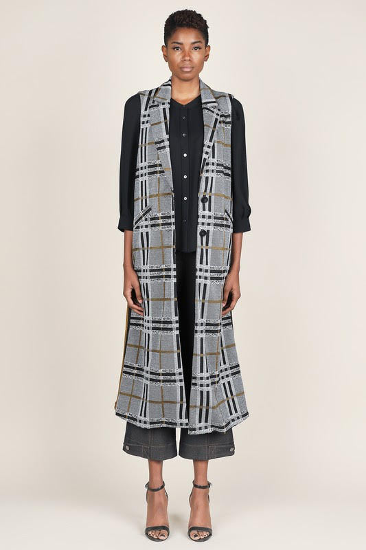 Plaid Knit Duster