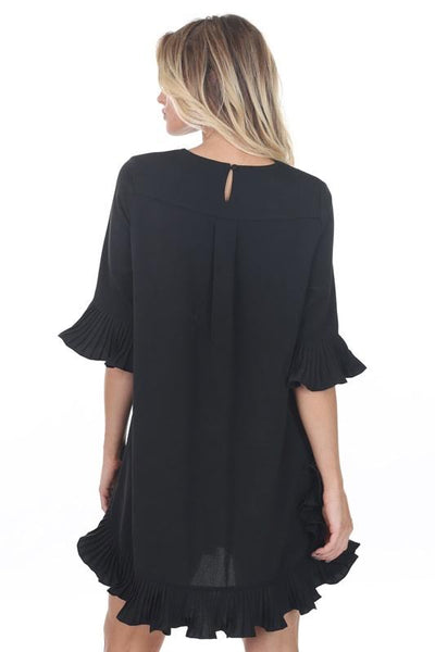 Pleat Ruffle Sleeve Dress Black