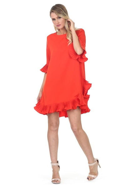 Pleat Ruffle Sleeve Dress Orange Red