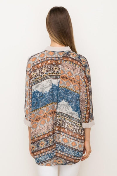 Printed Back Dolman Sleeve Shirt