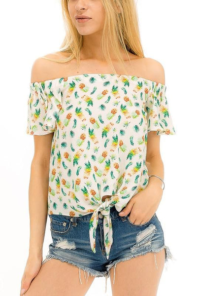 Pineapple Off Shoulder Top
