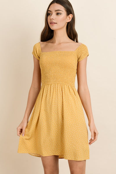 Polka Dot Smock Mini Dress