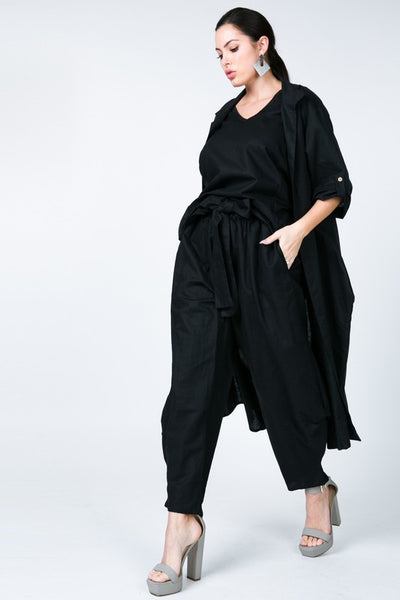 Roll Up Sleeve Open Front Linen Cardigan